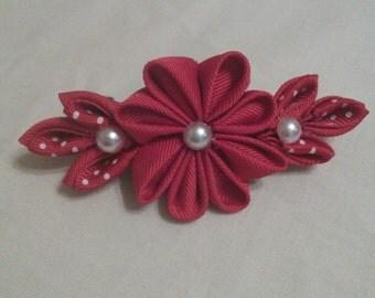 Kanzashi red with polka dots hair clip