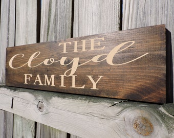 Family name wood sign, personalized signs, custom sign, wedding gift, family sign