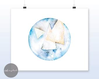 Blue Orb, Abstract Art Print, Wall Art, Instant print,Home Decor