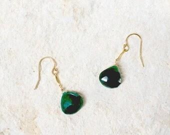 Emerald Teardrop Earrings, 14k gold-fill