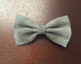 Gray Suede Barrette Hair Bow
