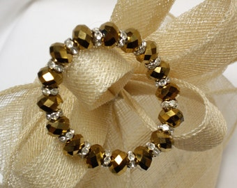 Gold Mirrored Crystal Bracelet with Diamante/Rhinestone Spacers