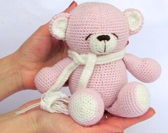 Crochet bear knitted bear teddy bear valentines pink