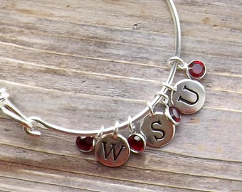 Washington State University bangle bracelet / WSU Bangle with Crimson Swarovski Crystals / WSU Cougars Bracelet