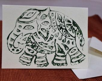 Blank Card, Hand printed, block printed