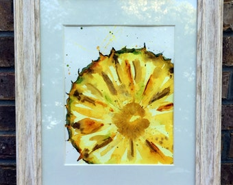 Original PRINT Slice of Pineapple  Watercolor Painting,  Pineapple Painting, Art Wall Hanging, Food Painting, Kitchen Decor, Home Decor
