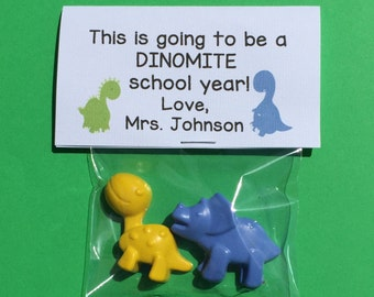 It's going to be a Dinomite school year dinosaur crayon favors welcome back to school gifts to students from teacher welcome to my classroom