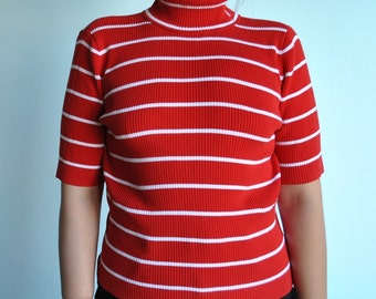 Vintage size M Ralph Lauren stripped red and white mid sleeve shirt