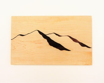 Mountain View Wood, Cutting board, Mountains, Mountain View, Modern Design, Modern Decor, Mountain art, Mountain Ridge, Hiking, TO ORDER