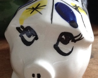 1960's Hand Painted Piggy Bank