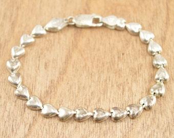 Hinged Heart Link Chain Bracelet Sterling Silver 6.5g Vintage Estate