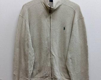 POLO Ralph Lauren Sweater Men Medium Vintage 90's Ralph Lauren Pony Hip Hop Zipper Jacket Sweatshirts Size M