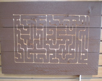 Carved Maze Sign Hand Painted with Oil Based Paints