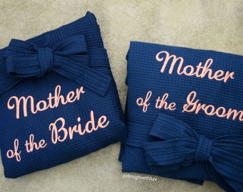 SET OF 2, Mother of the Bride robe, Mother of the Groom robe, Mother of the Bride gift, Mother of the Groom gift, Wedding robes (R001)