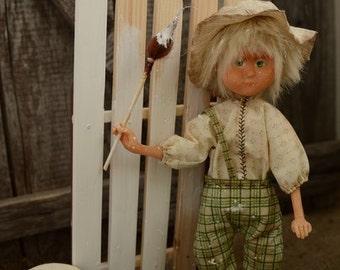 Tom Sawyer, art doll, doll, dolls, artist doll, wood decor