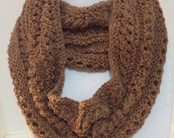 Silk scarf Knitted silk scarf Brown silk cowl  Lacy loop scarf Silk cowl