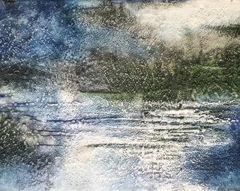 "Original Encaustic Art ""Be Still"" 10x20""  abstract mixed media encaustic landscape painting"