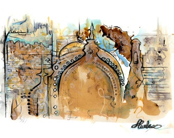 Tea & water colour Arabic Architecture Print #1