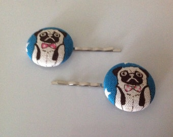 pug, pug hair pin, pug fabric covered button bobby pin pair