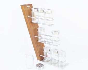 Wooden Spice rack stainless steel oak exclusive solid wood kitchen cooking Fritzsche elegant stylish modern design