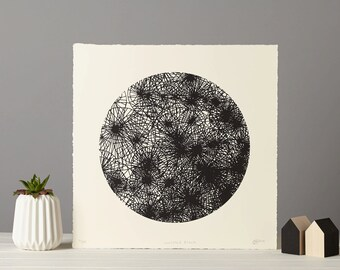 Spirograph Style print, Black and White Screenprint, Monochrome Wall Art, Cosmic print, Geometric Line Art, 30 x 30cm, Limited Edition