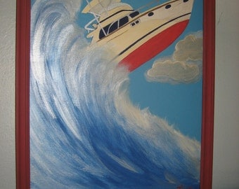 Yacht/Boat in a Wave Nautical Painting