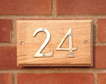 number plaques, solid oak plaques, house numbers,