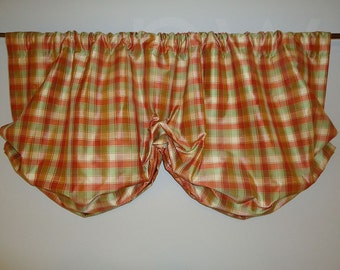 Plaid Dupioni Silk Balloon Valance Lined Interlined