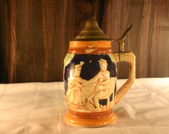 Brass Top Rounded German Stein