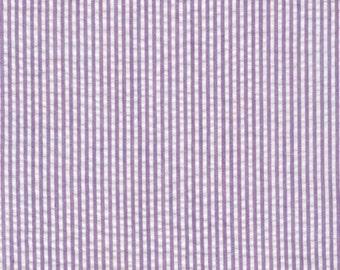 Purple Lupine Seersucker Fabric, Robert Kaufman Fabric, lavender and white seersucker, cotton blend seersucker