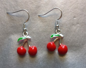 Cute Kitsch Retro Cherry dangle earrings