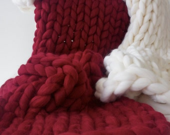 Red Chunky knit blanket, Merino wool, Wool throw, Chunky blanket, Giant knit blanket, Grande Punto, Knitted blanket, Natural, Merino