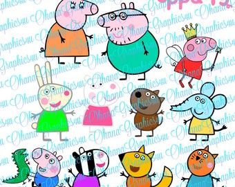 Nick Jr. Inspired Peppa Pig Fairy, Family, Friends and Logo SVG