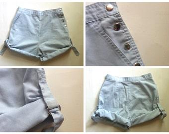 vintage high waisted shorts / light blue shorts / 80's shorts / high waist shorts / women's shorts