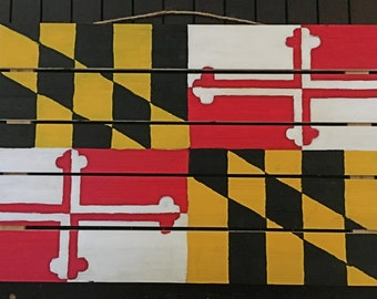 Wooden Maryland Flag