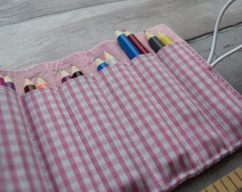Pink Pencil Case, Mini Pencil or Crayon Roll, Travel companion, Pink Gingham small Pencil Holder, Part Bag Gift or Stocking Filler