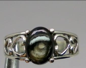 14k Black Star Sapphire Ring, FREE SIZING