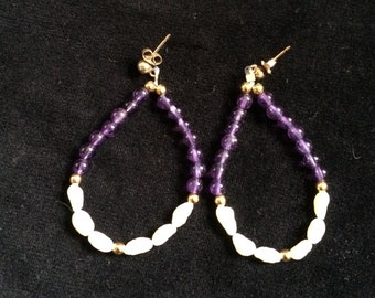 Dangling Hoop Earrings with Fresh Peals, Amethyst and Gold Filled Beads. Handmade