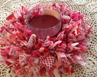 Valentine, red and pink, candle rag wreath, candle holder