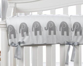 Gray Elephant Crib Rail Cover