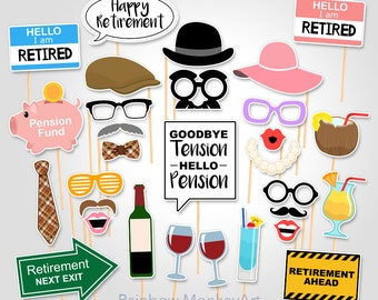 Printable Retirement Party Photo Booth Props - Retirement Photobooth Props - Retirement Printable Props - Retirement Props