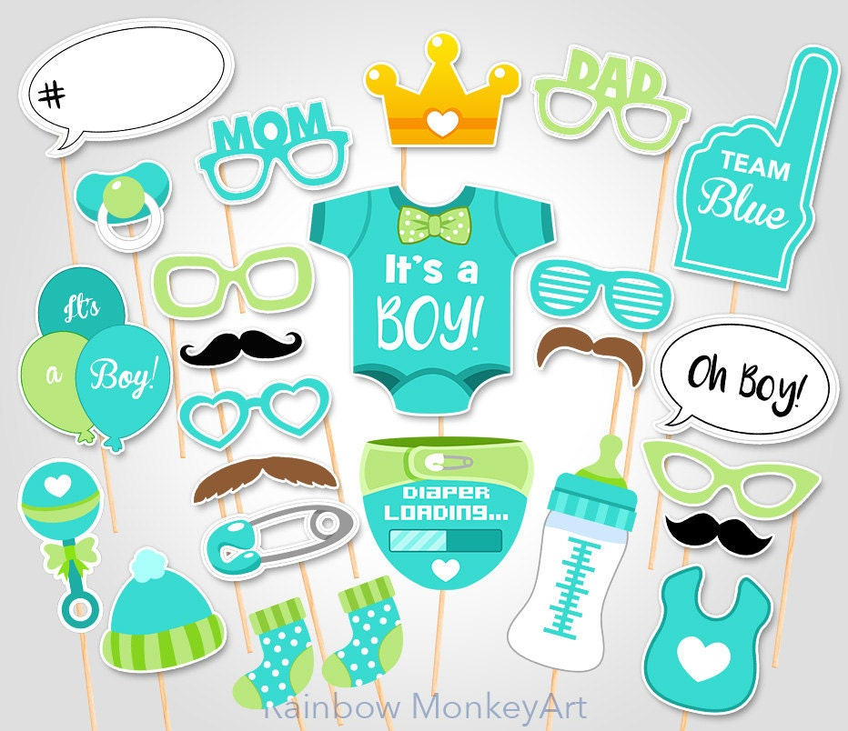 Baby shower photo props it 39 s a boy baby photo booth - Photo baby shower ...