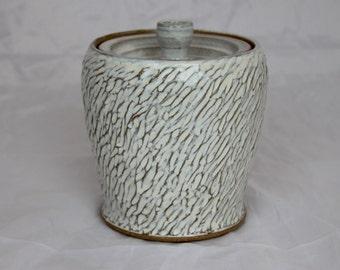 Sugar Jar Candy Jar Lidded Jar White Handmade Stoneware Vessel by MBPalley Ceramics (104)