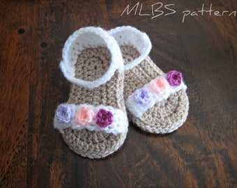 Crochet pattern baby sandals Photo Tutorial US terminology Instant Download Nr.27