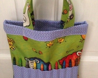 SALE, Child's activity tote bag,contains 10 crayons,busy bag,art bag,activity bag,kids crayon bag,childs Christmas present.