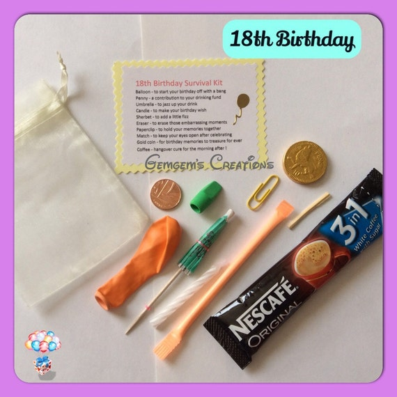 Unique Novelty Survival Kit: 18th Birthday Survival Kit Novelty Fun By GemgemsCreations