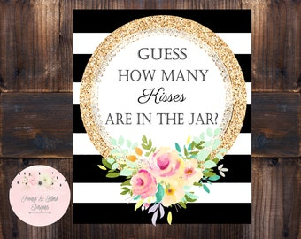 How Many Kisses- Bridal Shower Game, How Many Are In The Jar Game, Party Game, Black Stripes Bridal Shower Game