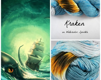 Kraken, on Watercolor Sparkle- Phat Fiber