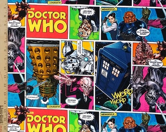 Dr. Who Fabric, Doctor Who Cotton Fabric, Doctor Who Dalek Toss Tardis Comics 100% Cotton Fabric by the Yard