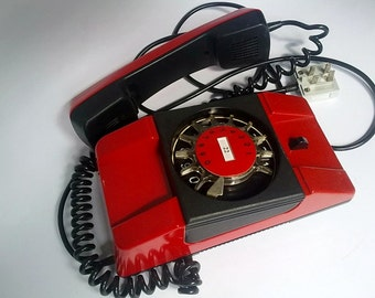 SALE 30% OFF Vintage Red Rotary Telephone, Red Dial Phone Bartek, Office Desk Phone, Wall Mount Retro Home Decor - made in Poland 80s